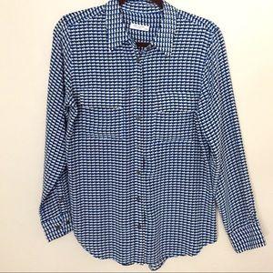 Equipment silk blue print blouse sz medium